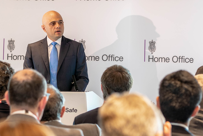 Home Secretary Sajid Javid giving a speech
