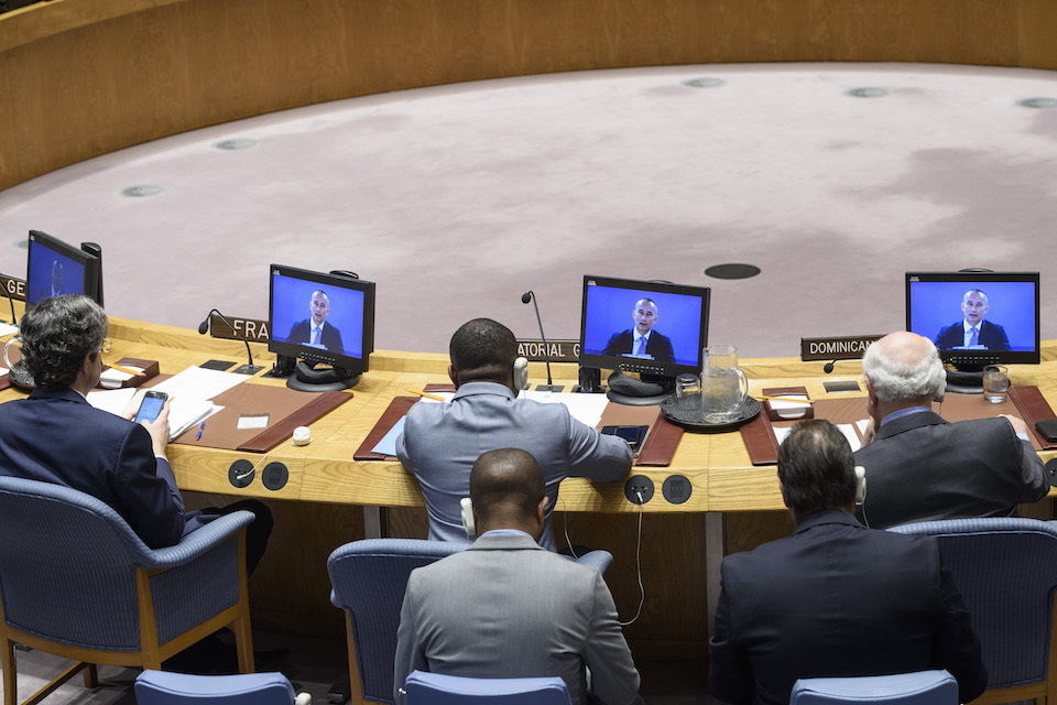 Nickolay Mladenov (on screens), Special Coordinator for the Middle East Peace Process and Personal Representative of the Secretary-General, briefs the Security Council on the situation in the Middle East, including the Palestinian question. (UN Photo)