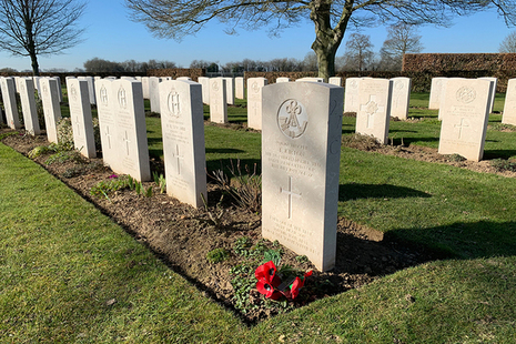 Headstones at Bayeux War Cemetery