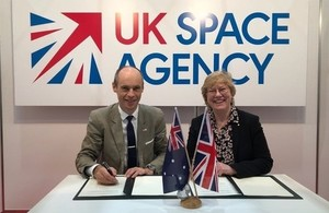Graham Turnock, Chief Executive of the UK Space Agency with Dr Megan Clark AC, Head of the Australian Space Agency.