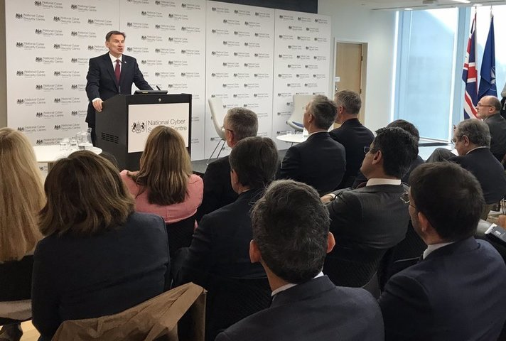 The Foreign Secretary, Jeremy Hunt, speaking at a NATO cyber-security conference