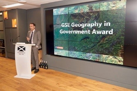 David Wood, GSE Head of Geography, introduces the Geography in Government Awards at Scotland House in London