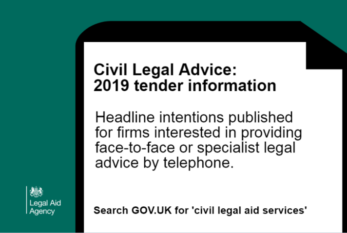 Graphics showing call to action to search 'Civil Legal Aid service' on GOV.UK for more information
