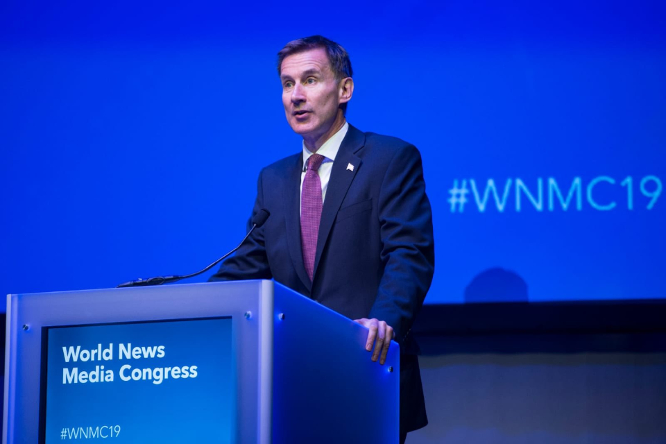 Jeremy Hunt speaking at the World News Media Congress in Glasgow