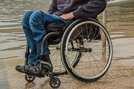 Wheel chair by the water
