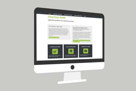 Screenshot of the charity SORP website homepage