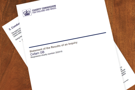 Front cover of the Charity Commission inquiry into Oxfam GB