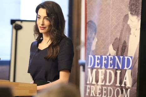Amal Clooney speaking at FCO Leadership Conference