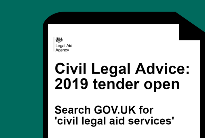 Graphic announcing Civil Legal Advice 2019 tender now open