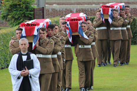 The burial service for the three soldiers, Crown Copyright, All rights reserved