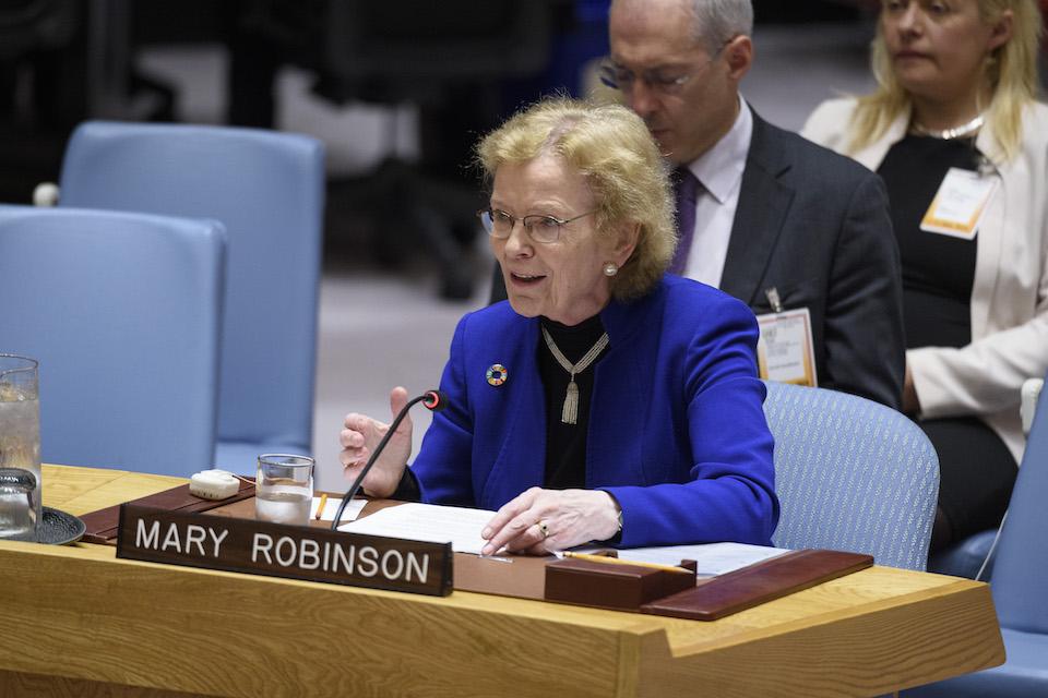 Mary Robinson at the UN Security Council (UN Photo)