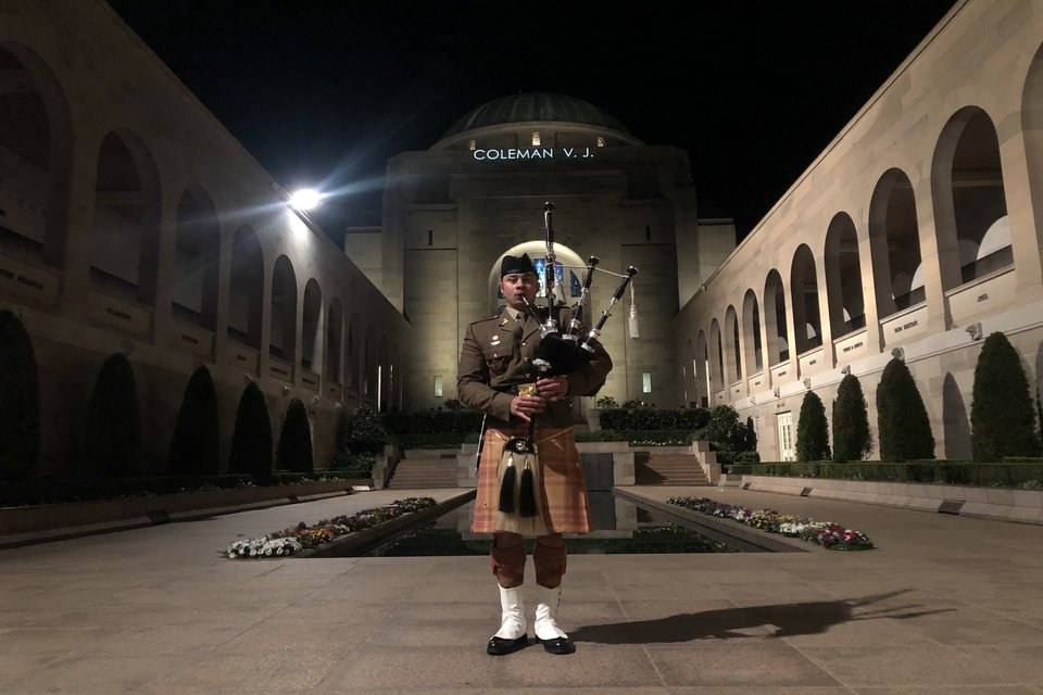 Bagpiper plays at our D-Day 75 Commemoration at the Australian War Memorial.