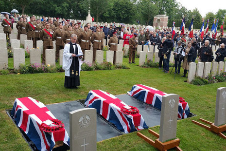 The burial service for the three World War 1 soldiers