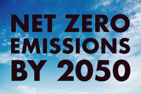 "Picture of clouds with words ""Net zero emissions by 2050"""