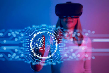 Woman using AI technology
