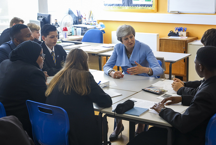 Prime Minister Theresa May speaking to pupils at Southfield Academy