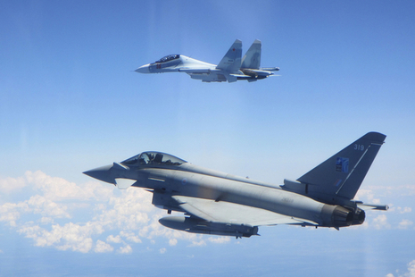 Image of a Russian SU-30 Flanker aircraft (top-centre) and an RAF Typhoon aircraft (bottom-centre), taken on Saturday 15 June 2019 over the Baltic Sea.