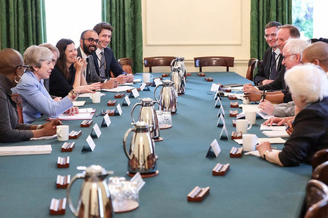 Photo of PM Theresa May hosting roundtable in Cabinet Room at 10 Downing Street