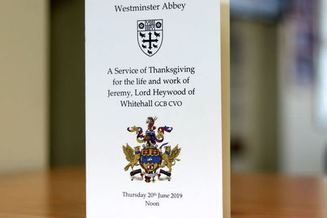 Front cover of the programme for the memorial service for Jeremy Heywood