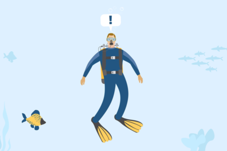 Illustration of a scuba diver underwater with a speech bubble containing an exclamation mark