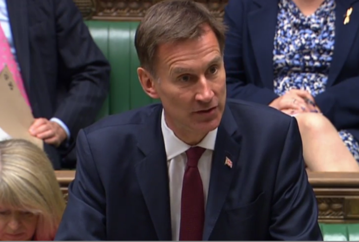 Jeremy Hunt in the House of Commons speaking about Hong Kong