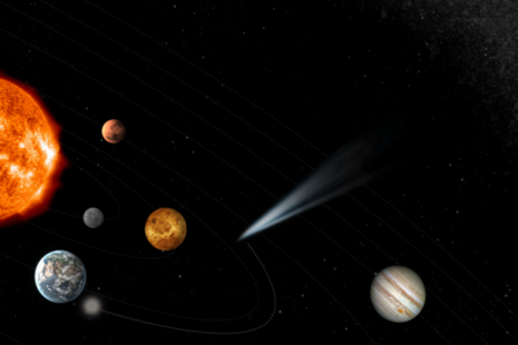 artist impression of a comet in the inner solar system