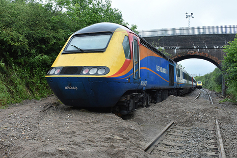 The rear of the train after further aggregate washed-out from the cutting slope after the train had stopped