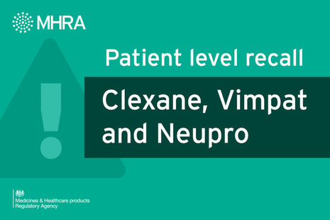 Patient level recall: Clexane, Vimpat and Neupro