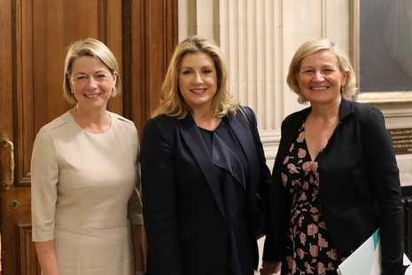 Penny Mordaunt with Dame Cilla Snowball and Fiona Dawson
