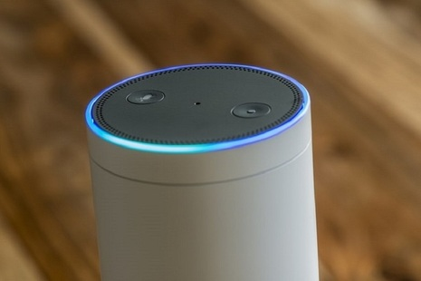 Voice technology device on table