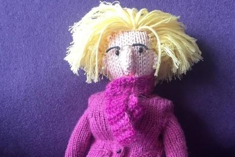 A knitted Amanda Spielman doll
