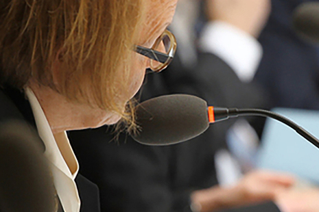 Inspector speaking into microphone