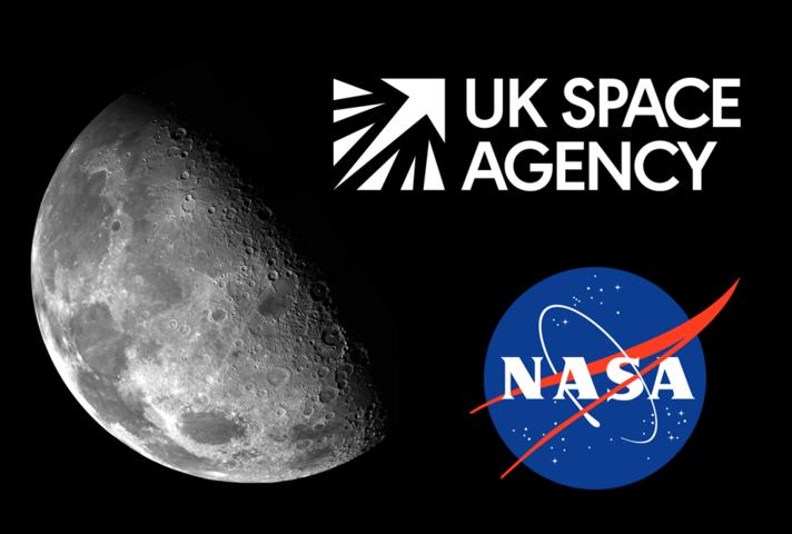 Image of the Moon and UK Space Agency and NASA logos