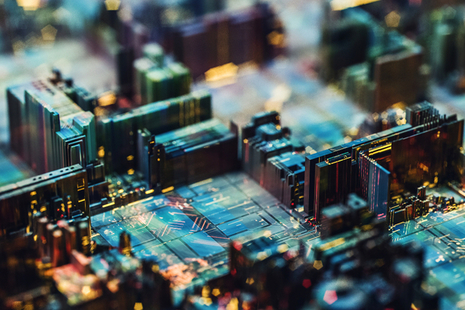 A close up of a circuit board.
