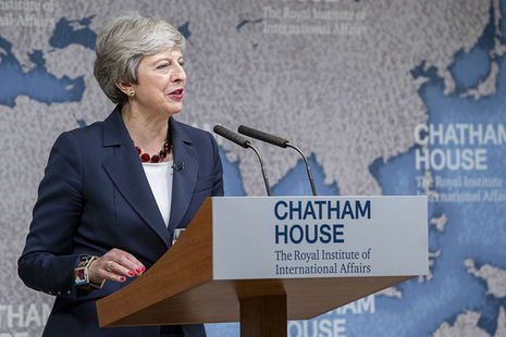 Prime Minister Theresa May speaking at Chatham House