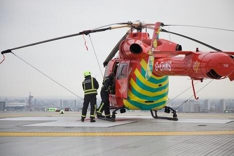 Air ambulance preparing to take off
