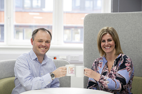 Toby and Rachel from Companies House having a curious coffee.