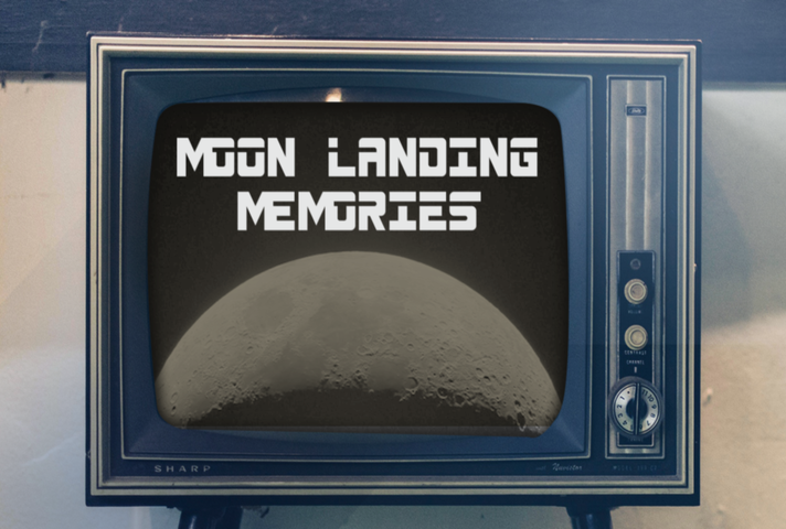 TV with the image of the Moon and Moon Memories