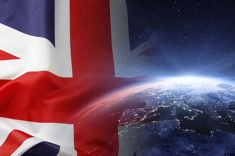 Union Jack and world outline