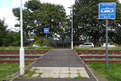 View of the crossing from the direction the pedestrian approached. The tram was travelling from right to left on the near track.