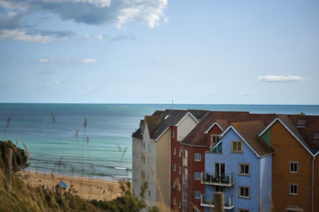 Houses along the coast of Bournemouth, Dorset.