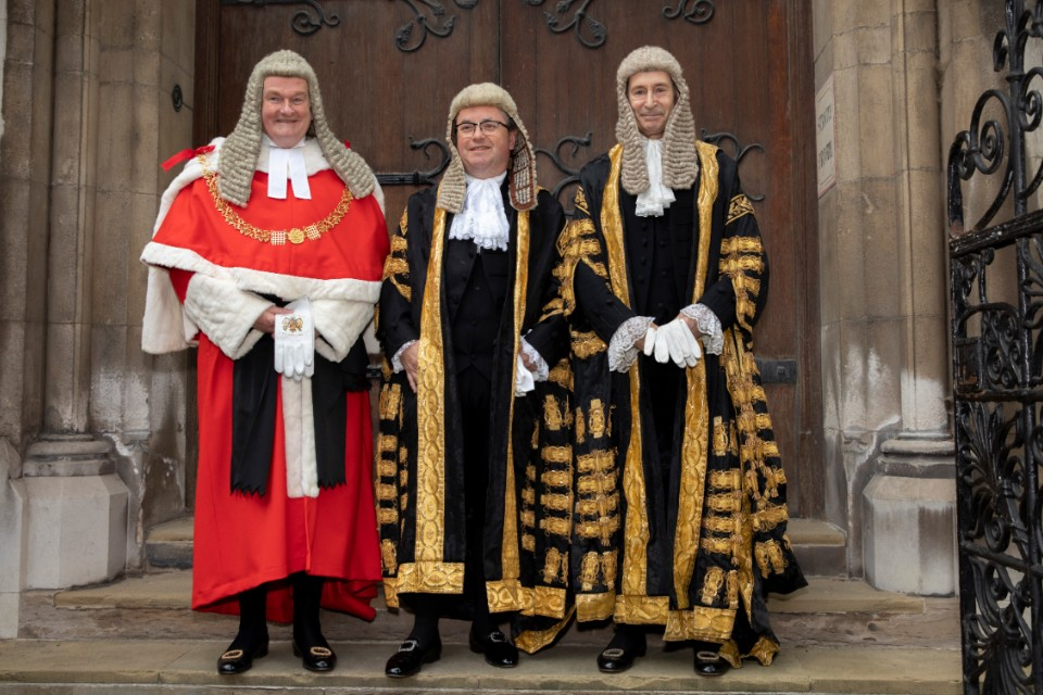 Lord Chancellor arriving at Royal Courts of Justice to be sworn in