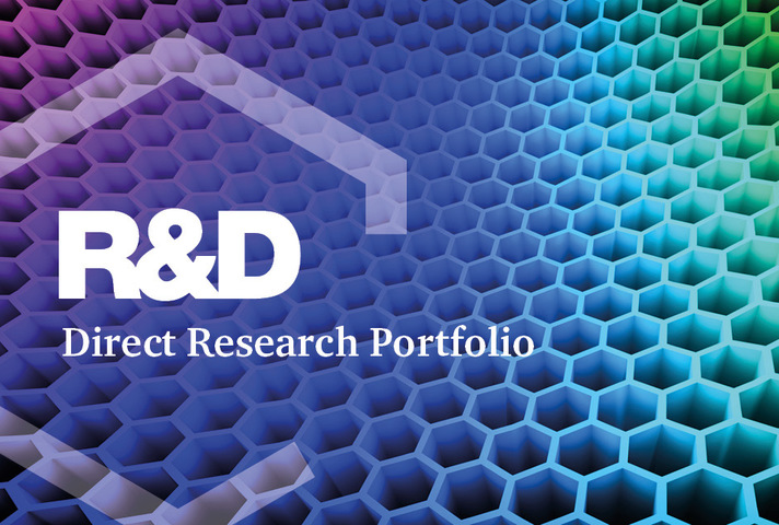 Structure of graphene atoms with text 'R&D portfolio' superimposed