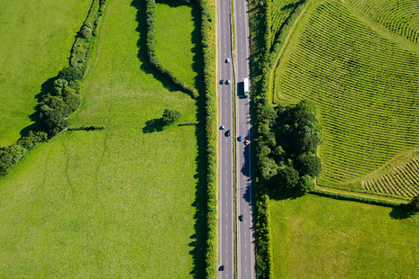 Aerial view of a road in the countryside