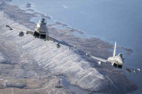 A pair of RAF Typhoons on patrol