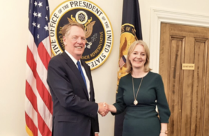 International Trade Secretary Liz Truss meets U.S. Trade Representative Robert Lighthizer