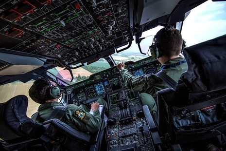 The cockpit of a Royal Air Force A400M Atlas.
