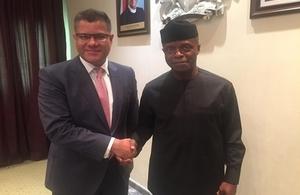 International Development Secretary Alok Sharma with Vice President of Nigeria  Yemi Osinbajo