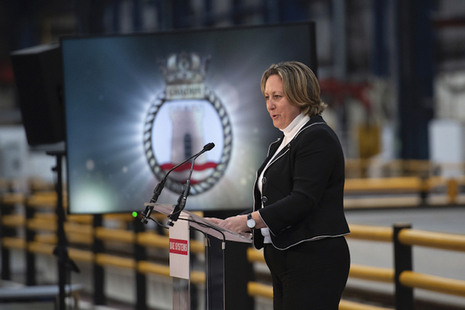Defence Minister addressing BAE Systems employees