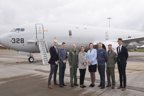Defence Minister Anne-Marie Trevelyan and Norwegian State Secretary Tone Skogen at RAF Lossiemouth.